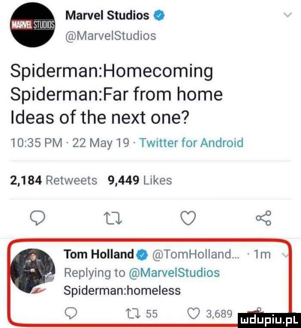 marcel studios. ma mums marvelstudios spiderman homecoming spidermanzfar from home ideas of tee nett one       pm    may    twitter for android       retweets       limes q b     tom holland. tomhoiiand. replying to marvelsludios spiderman home ess o ll          mel inupl